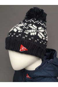 KIDS SNOWFLAKE BEANIE - NAVY, RED