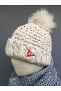 BUTTON PLAIT POM POM BEANIE - DK GREY, CREAM