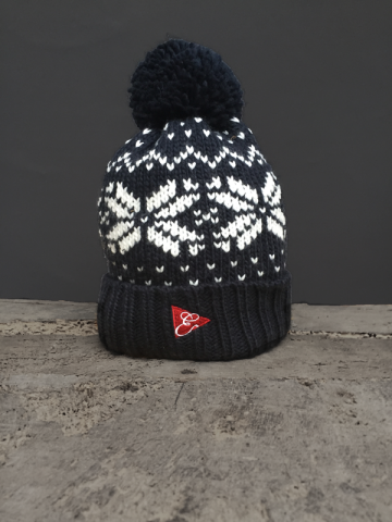 SNOWFLAKE POM POM BEANIE - NAVY, GREY, RED, WHITE
