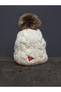 CABLE POM POM BEANIE - NAVY, RED, CREAM