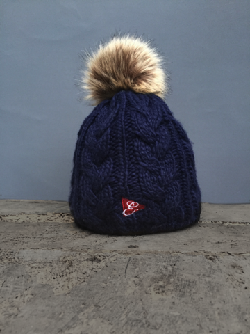 CABLE POM POM BEANIE - 4 COLOURS