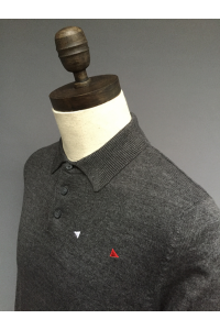 MENS S/SLEEVE POLO SWEATER - 2 COLOURS