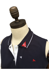 WOMENS SLEEVELESS POLO - NAVY & WHITE