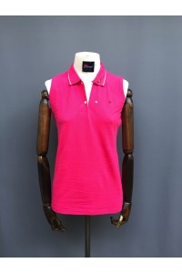 WOMENS SLEEVELESS POLO - PINK, NAVY & WHITE