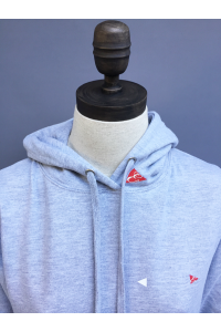 WOMENS GIRLIE LONG SNUGGLE HOODIE - NAVY, LT GREY