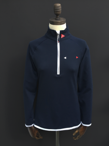 WOMENS COOL TECH ZIP UV TOP - NAVY, DK GREY